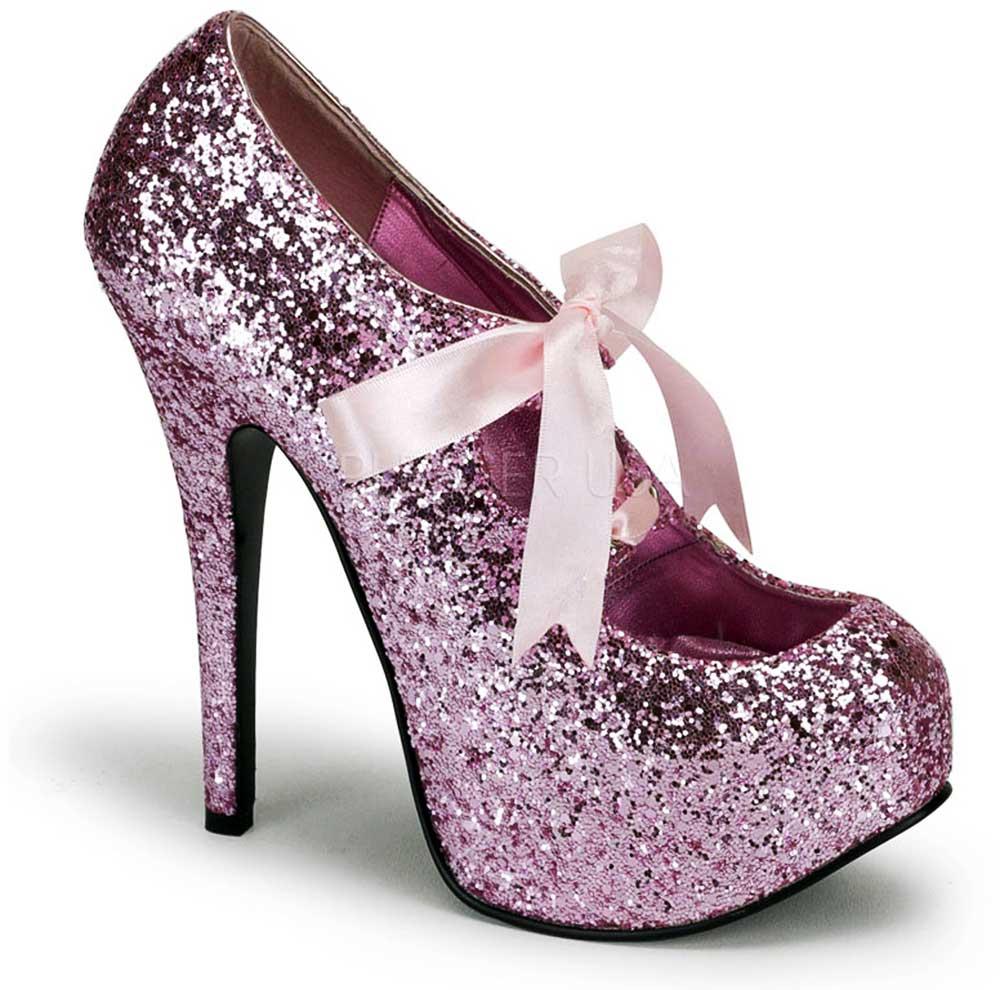 Ribbon Laced Hidden Platform Stiletto Glitter Pumps High Heels Shoes ... 528b8e76e