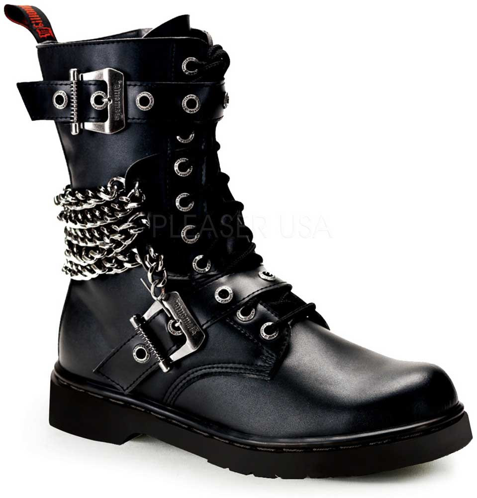Adult Damens 10 Eyelet Vegan Calf Zipper Combat Bt Buckles-chains & Zipper Calf Schuhes Stiefel a656b0