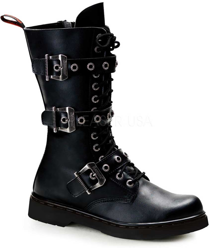 Adult Damens 14 Eyelet 3 Buckle Vegan Calf Schuhes Combat Bt Größe Zipper Schuhes Calf Stiefel dedce2