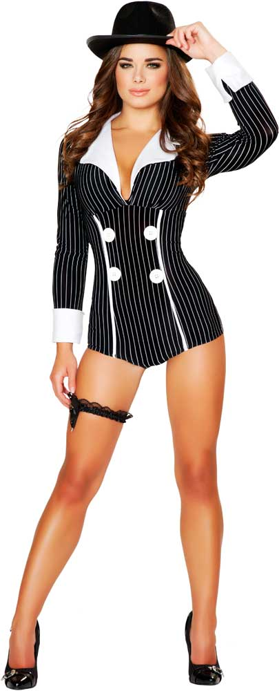 Sexy-Mobster-Mafia-Gangster-Babe-Romper-Hot-Halloween-  sc 1 st  eBay & Sexy Mobster Mafia Gangster Babe Romper Hot Halloween Costume Outfit ...