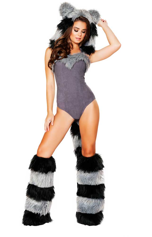 6b81ed0bffd Details about ttach Romper Costume Adult Animal Women Hooded Tails Fur  Furry Sexy Raccoon