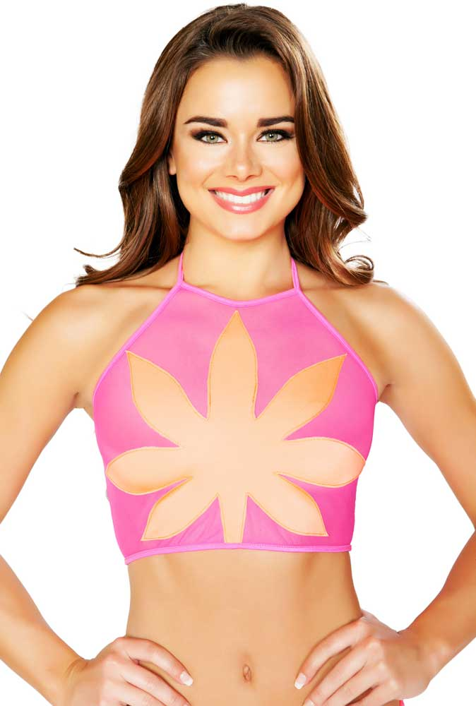 34b00e94a8b17 Sheer Mesh Halter Neck Sexy Women Clubwear Edm Top Trim Neon Large ...