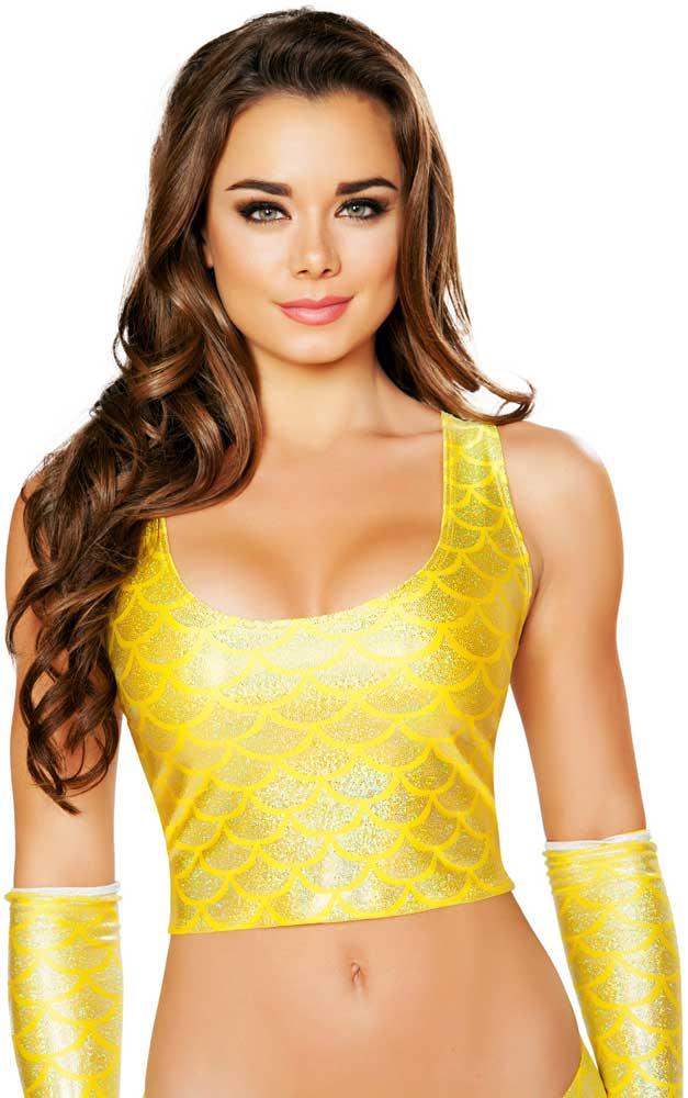 044b797b9e1a0 Sexy Scaled Mermaid Rainbow Shimmer Women Clubwear Edm Rave Crop Top ...