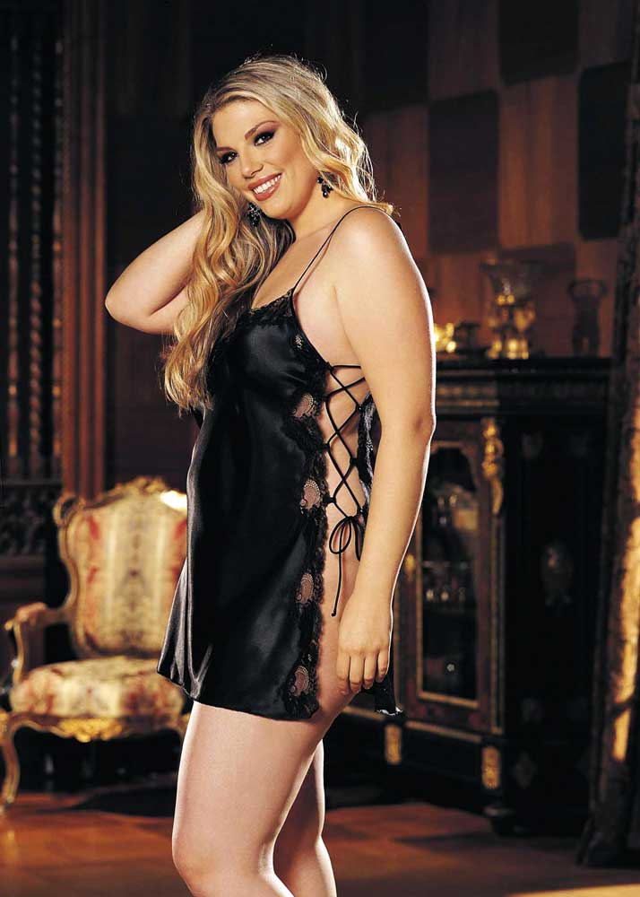7c04057e43b Shirley of Hollywood X20015 Plus Size Charmeuse Lace up Chemise 1x Electric  Blue