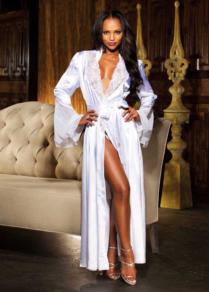 Elegant Charmeuse Lace Chiffon Long Robe Evening Gown Lingerie Adult ...