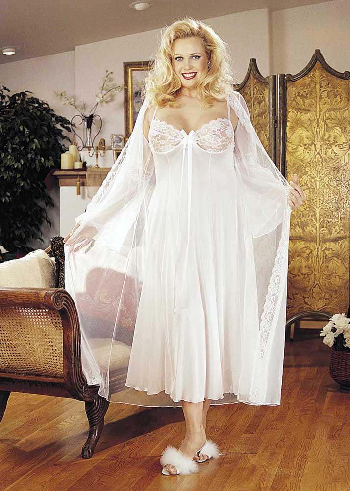 Elegant Lace 15 Denier Long Evening Gown Robe Plus Size Lingerie ...