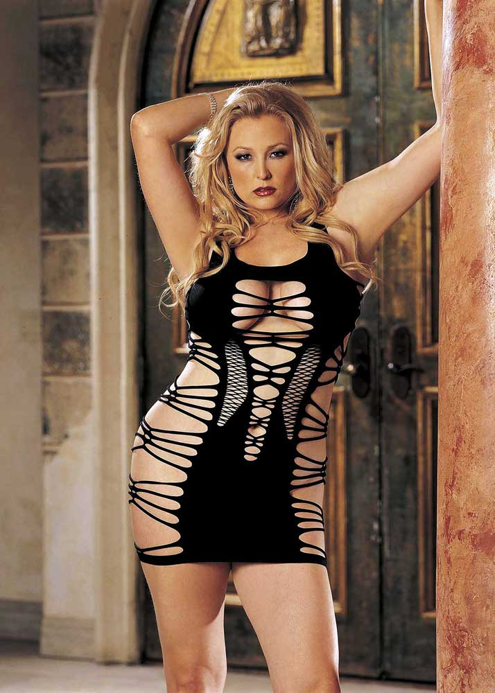 Super Sexy Strappy Knit Chemise Mini Dress Skirt Plus Size Lingerie