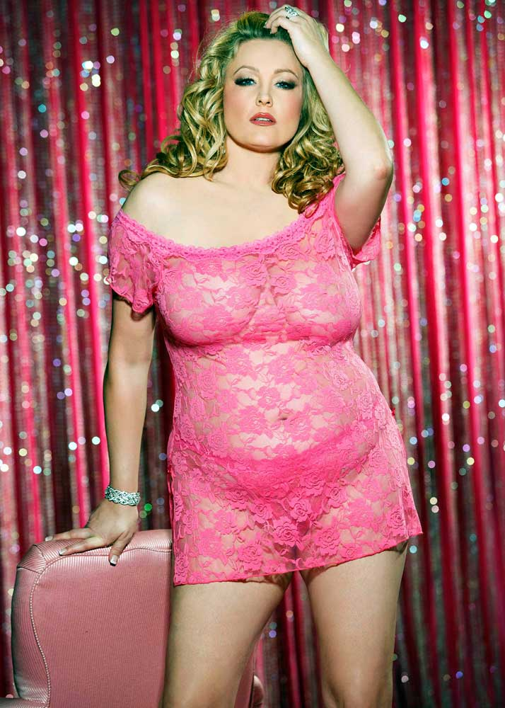 667dc44d68b Details about Sexy Lace Floral Chemise Mini Dress   Thong Panty Plus Size  Lingerie Adult Women