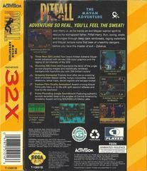 Pitfall: Mayan Adventure - Back | Pitfall Mayan Adventure Sega 32X