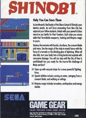 Back Cover | Shinobi Sega Game Gear