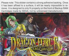Memory Cart Sticker (Dragon And Warriors) | Dragon Force Sega Saturn