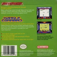 Arcade Classic - Back | Arcade Classic: Asteroids and Missile Command GameBoy