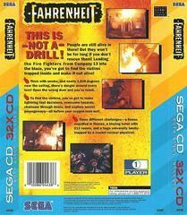 Fahrenheit - Back | Fahrenheit Sega 32X
