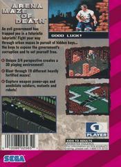 Arena Maze Of Death - Back | Arena Maze of Death Sega Game Gear