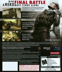 Back Cover | Metal Gear Solid 4 Guns of the Patriots Playstation 3