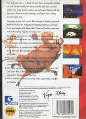 Back Cover | The Lion King Sega Genesis