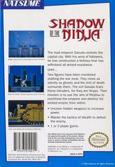 Shadow Of The Ninja - Back   Shadow of the Ninja NES