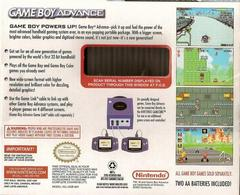 Back Cover   Glacier Gameboy Advance System GameBoy Advance