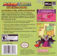 Back Cover | Mario and Luigi Superstar Saga GameBoy Advance