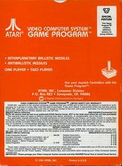 Back Cover | Missile Command Atari 2600