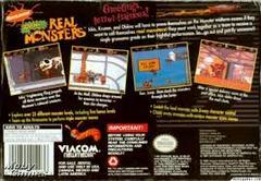 AAAHH Real Monsters - Back | AAAHH Real Monsters Super Nintendo