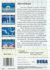 Back Cover  | Altered Beast PAL Sega Master System