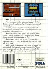 Zillion - Back | Zillion Sega Master System