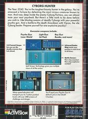 Cyborg Hunter - Back | Cyborg Hunter Sega Master System
