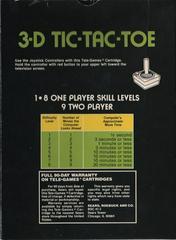 3D Tic-Tac-Toe [Tele Games]  - Back | 3D Tic-Tac-Toe [Tele Games] Atari 2600