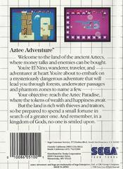 Aztec Adventure - Back | Aztec Adventure Sega Master System