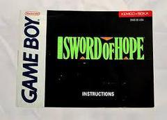 Sword Of Hope - Instructions | Sword of Hope GameBoy