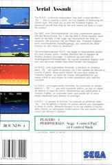 Back Cover    Aerial Assault PAL Sega Master System