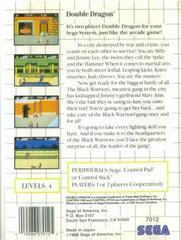 Double Dragon - Back | Double Dragon Sega Master System
