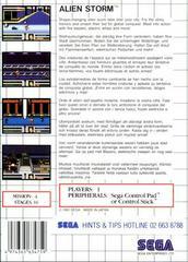 Back Cover  | Alien Storm PAL Sega Master System