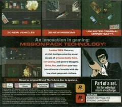 Back Cover | Grand Theft Auto Mission Pack #1 London Playstation