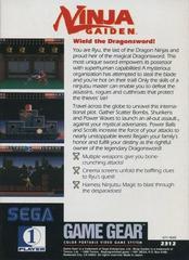Back Cover | Ninja Gaiden Sega Game Gear