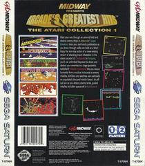 Greatest Hits Atari Collection - Back   Arcade's Greatest Hits Atari Collection Sega Saturn