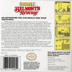 Castlevania II Belmont'S Revenge - Back | Castlevania II Belmont's Revenge GameBoy