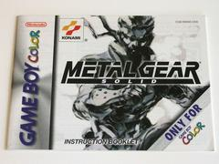 Manual - Front | Metal Gear Solid GameBoy Color
