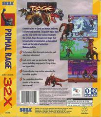 Primal Rage - Back | Primal Rage Sega 32X