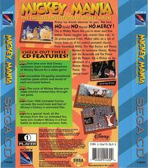 Mickey Mania - Back | Mickey Mania Sega CD