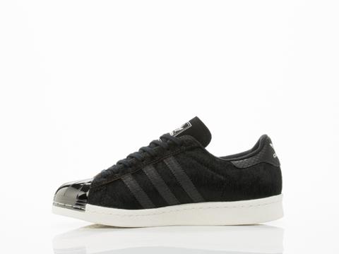 Adidas Blue In Black Black White Superstar 80s Metal Toe