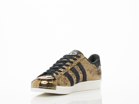 Adidas Blue In Gold Black White Superstar 80s Metal Toe