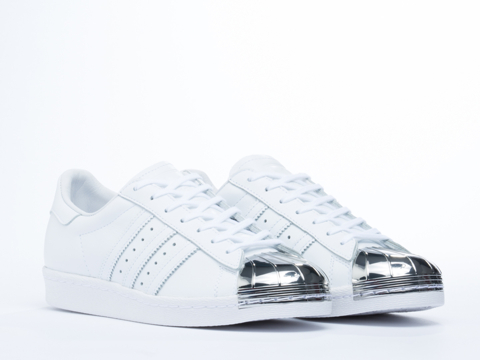 Adidas Blue In White Silver Superstar 80s Metal Toe