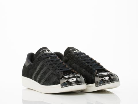 Adidas Blue In Black Black White Superstar 80s Metal Toe Mens
