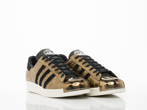 Adidas Blue In Gold Black White Superstar 80s Metal Toe Mens