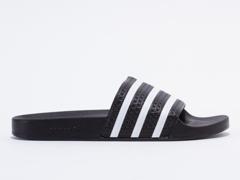 Adidas Originals In Black White Black Adilette