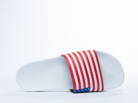 Adidas Originals In White Royal Red Adilette Flags