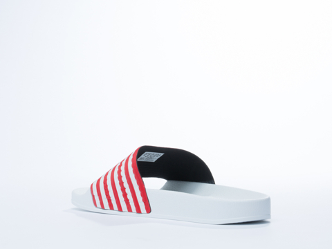 Adidas Originals In White Royal Red Adilette Flags Mens