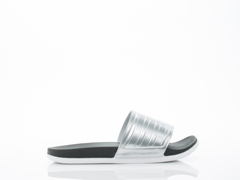 Adidas Originals In Black Silver White Adilette SC Plus Silver Womens